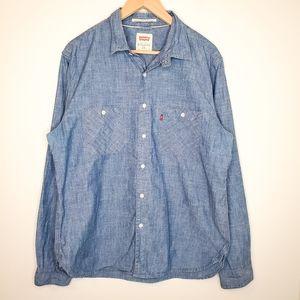 Levi's Denim Chambray Long Sleeve Collared Shirt